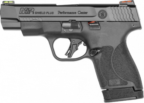 "Smith & Wesson M&P 9 Shield Plus 4"" facing left"